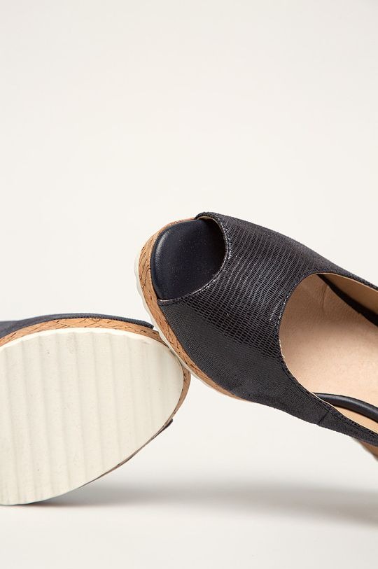 granatowy Caprice - Sandały skórzane