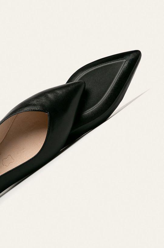 čierna Caprice - Kožené balerínky