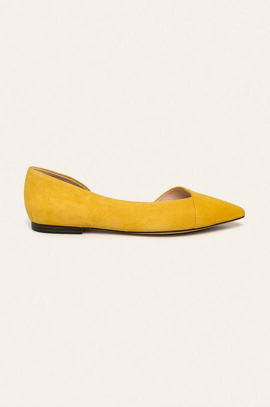 žltá Caprice - Kožené balerínky Dámsky