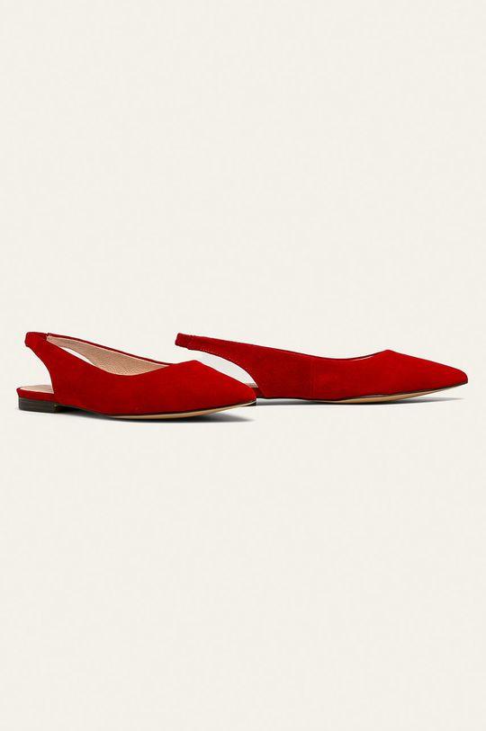 Caprice - Kožené balerínky červená