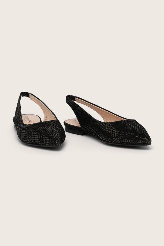 Caprice - Кожени балеринки черен