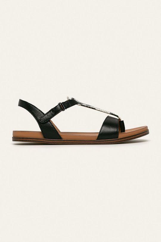 čierna Caprice - Kožené sandále Dámsky
