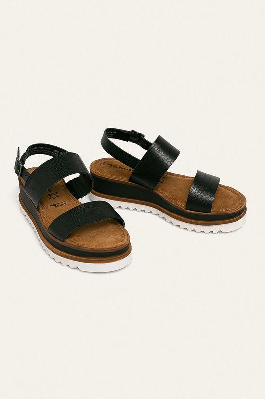 Tamaris - Kožené sandály černá