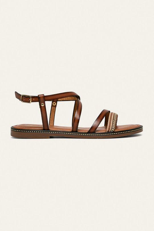 hnedá Tamaris - Kožené sandále Dámsky