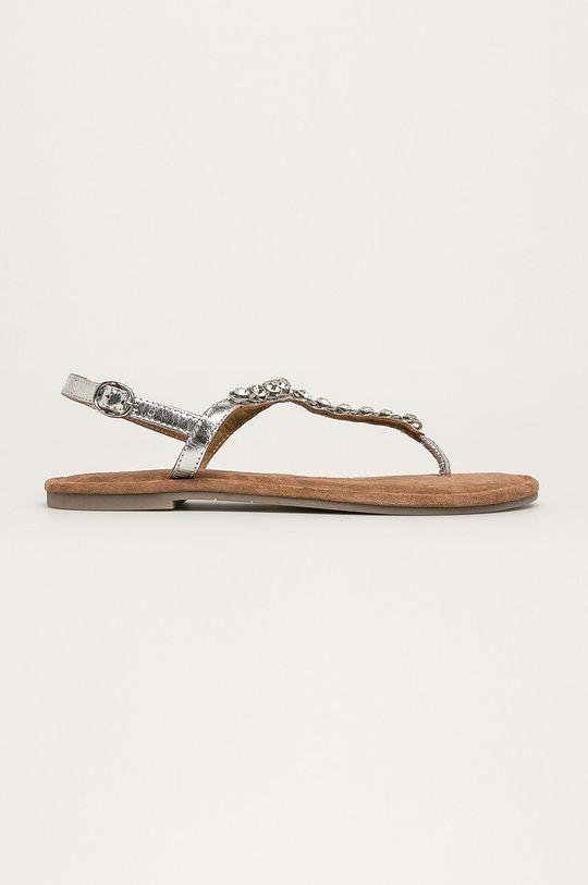 strieborná Tamaris - Kožené sandále Dámsky