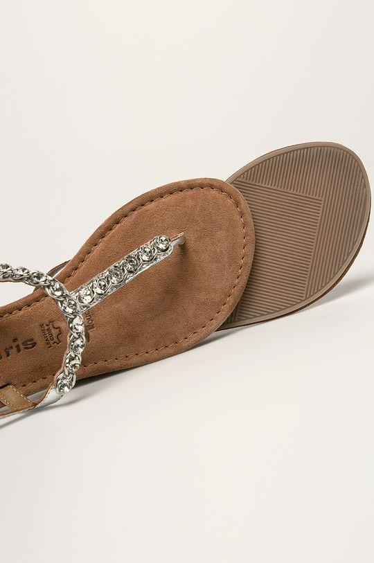 strieborná Tamaris - Kožené sandále