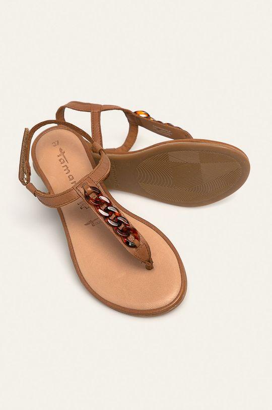 brązowy Tamaris - Sandały skórzane