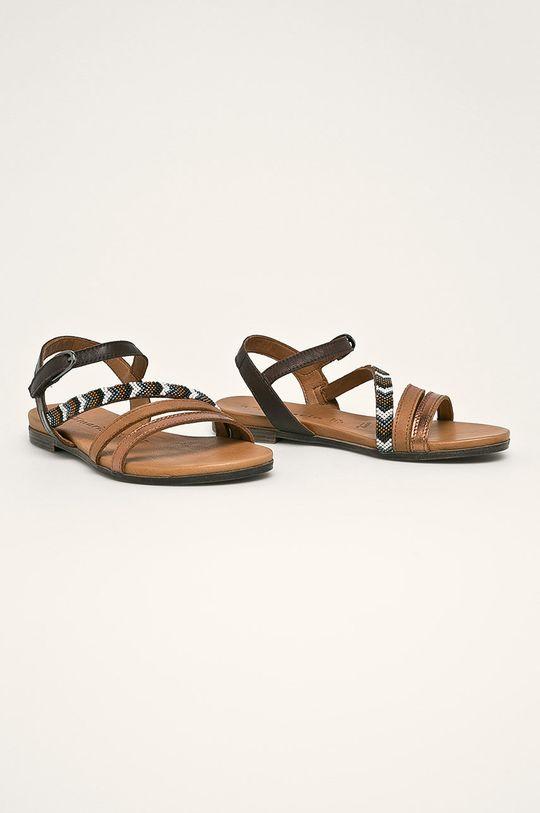 Tamaris - Kožené sandále hnedá