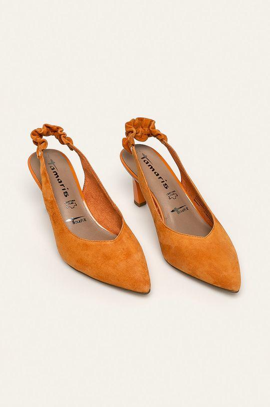 Tamaris - Kožené lodičky oranžová