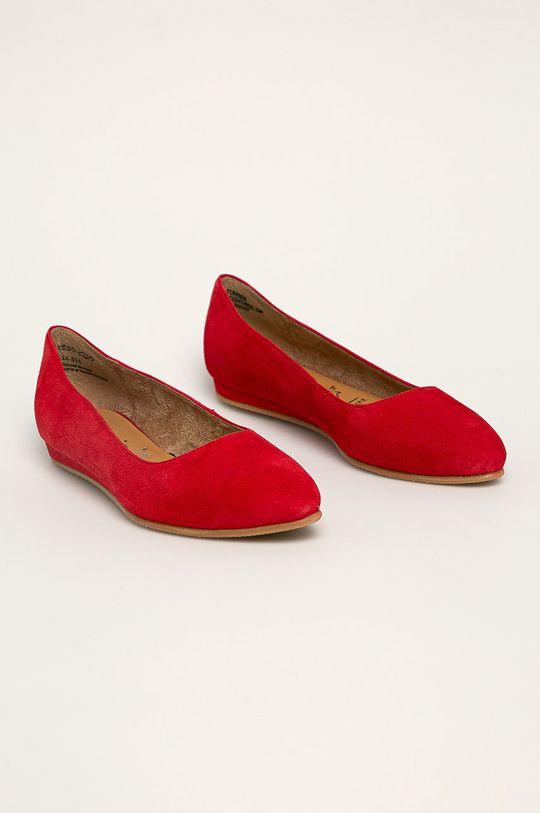 Tamaris - Kožené balerínky červená