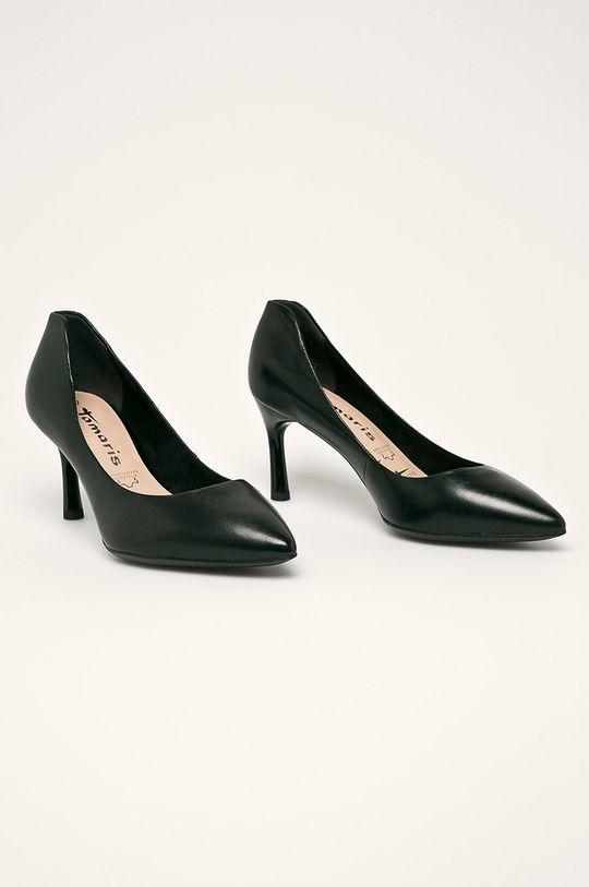 Tamaris - Kožené topánky Chelsea čierna