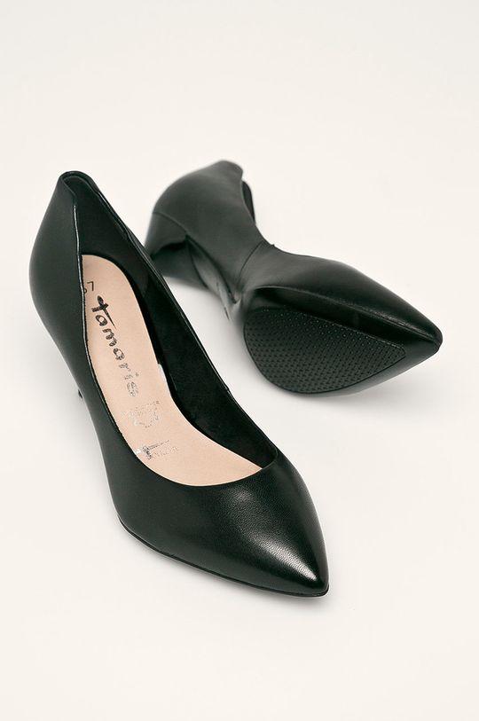 čierna Tamaris - Kožené topánky Chelsea