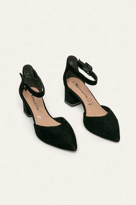 Tamaris - Kožené sandále čierna