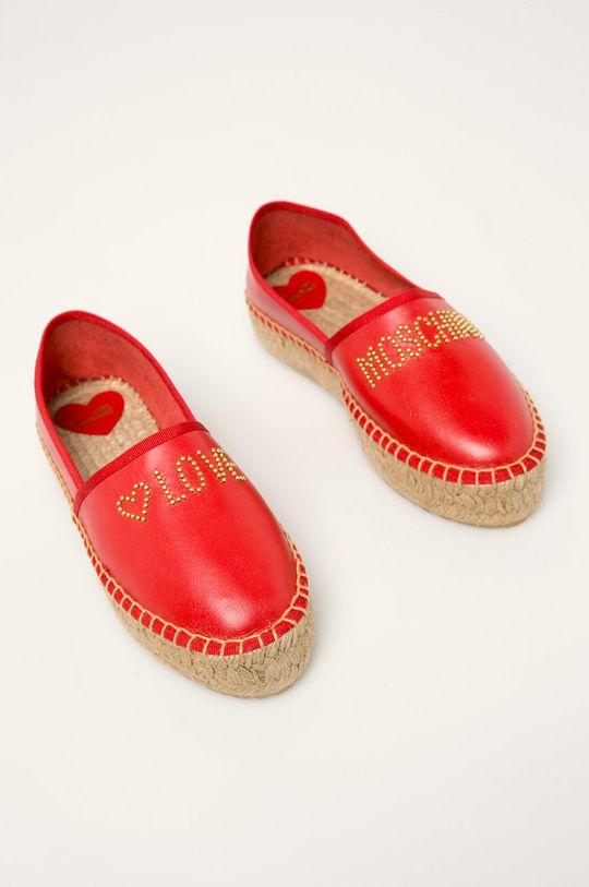 Love Moschino - Espadrile de piele rosu