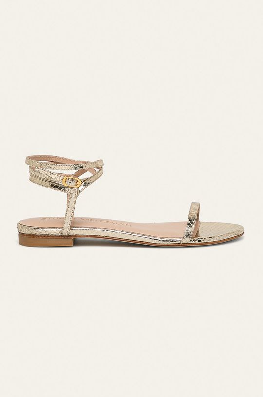 zlatá Stuart Weitzman - Kožené sandály Merinda Flat Dámský