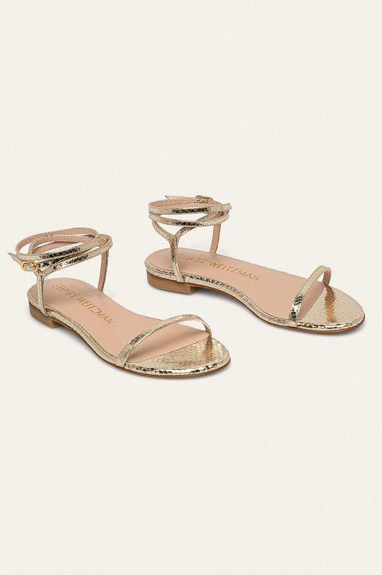 Stuart Weitzman - Kožené sandále Merinda Flat zlatá