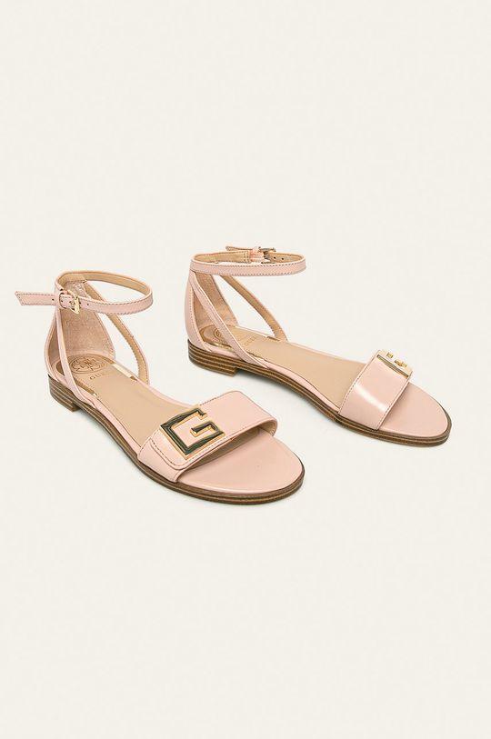 Guess Jeans - Kožené sandály růžová