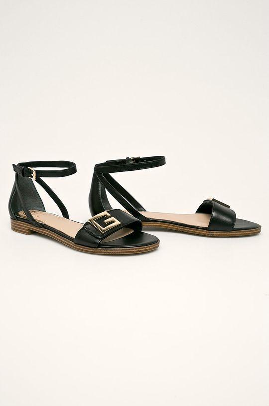 Guess Jeans - Kožené sandály černá
