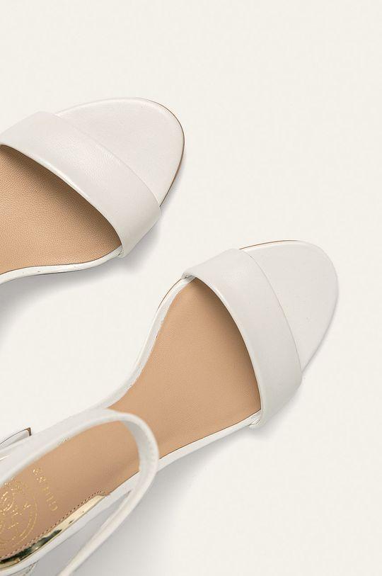 alb Guess Jeans - Sandale de piele