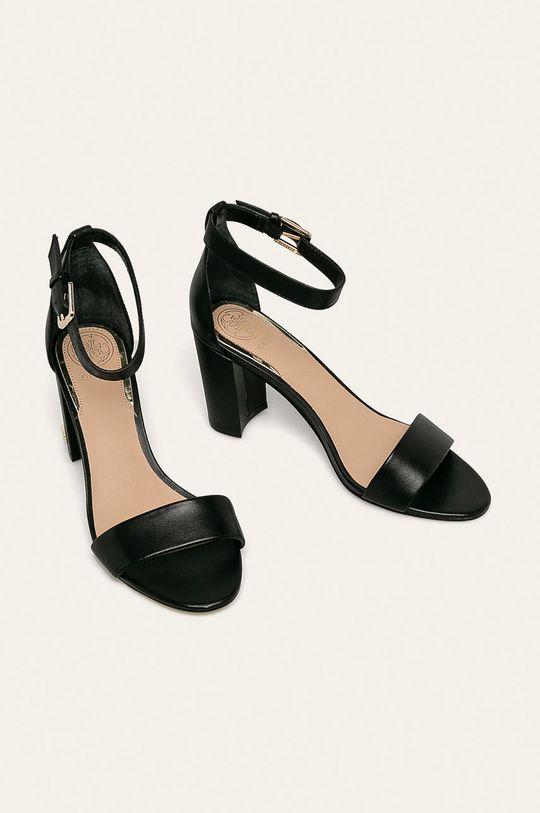 Guess Jeans - Kožené sandále čierna