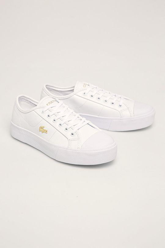 Lacoste - Kožené tenisky biela