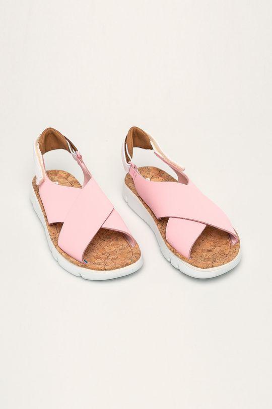 Camper - Kožené sandále Oruga pastelová ružová