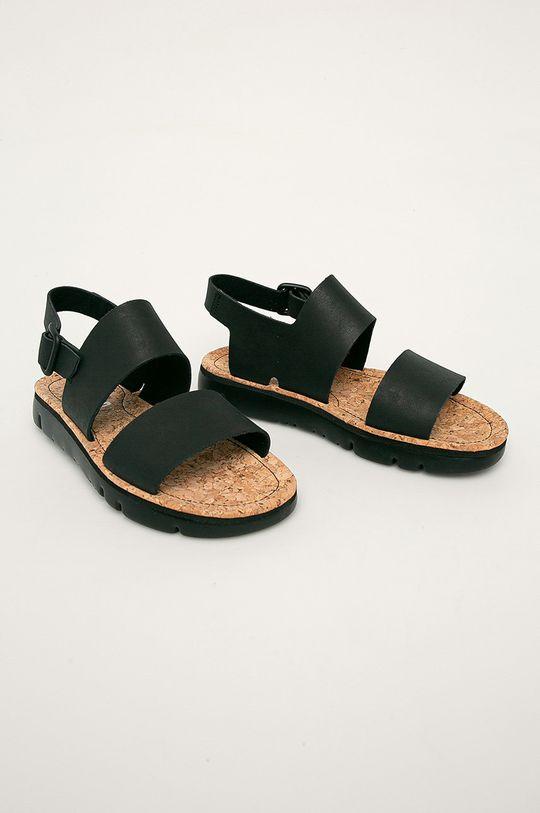 Camper - Kožené sandály Oruga černá