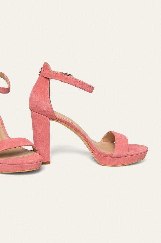 Guess Jeans - Sandały skórzane różowy
