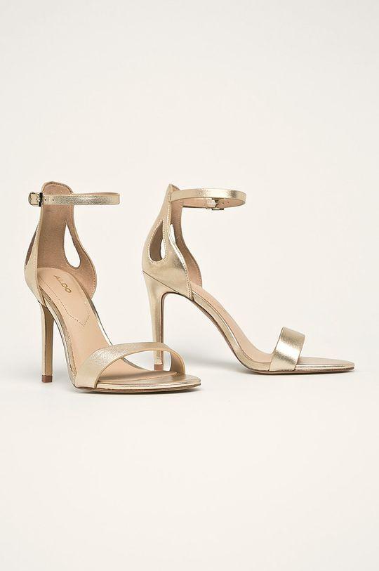 Aldo - Kožené sandále Violla zlatá