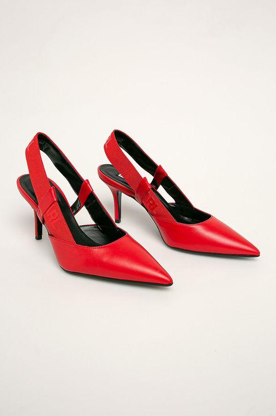 Karl Lagerfeld - Stilettos de piele rosu