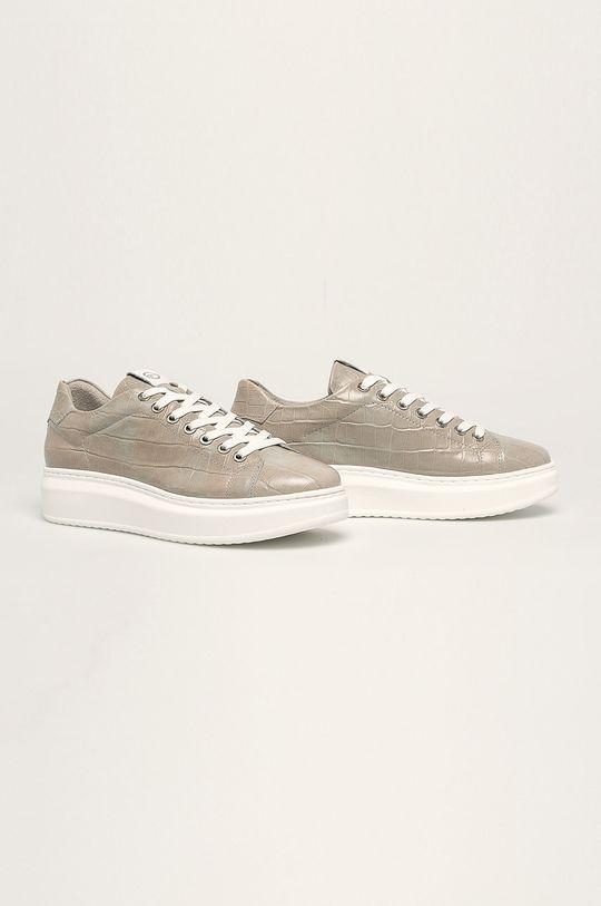 Tamaris - Kožená obuv svetlosivá