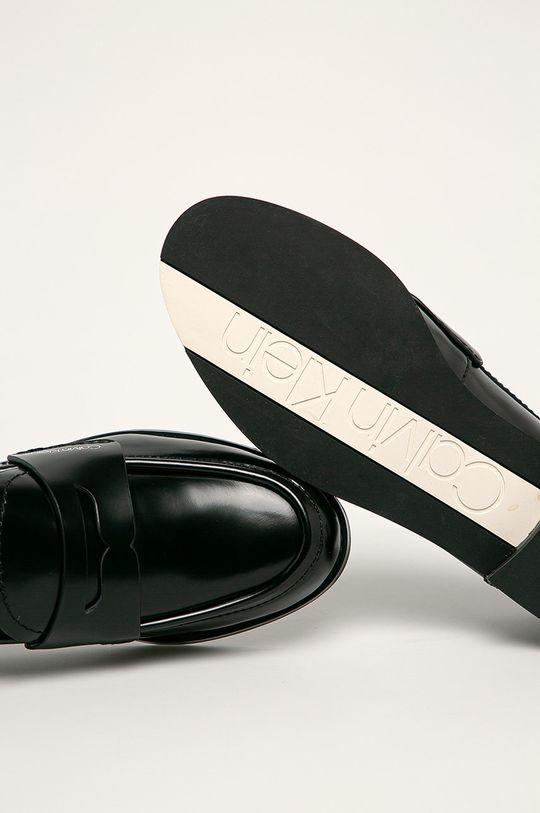 černá Calvin Klein - Kožené polobotky