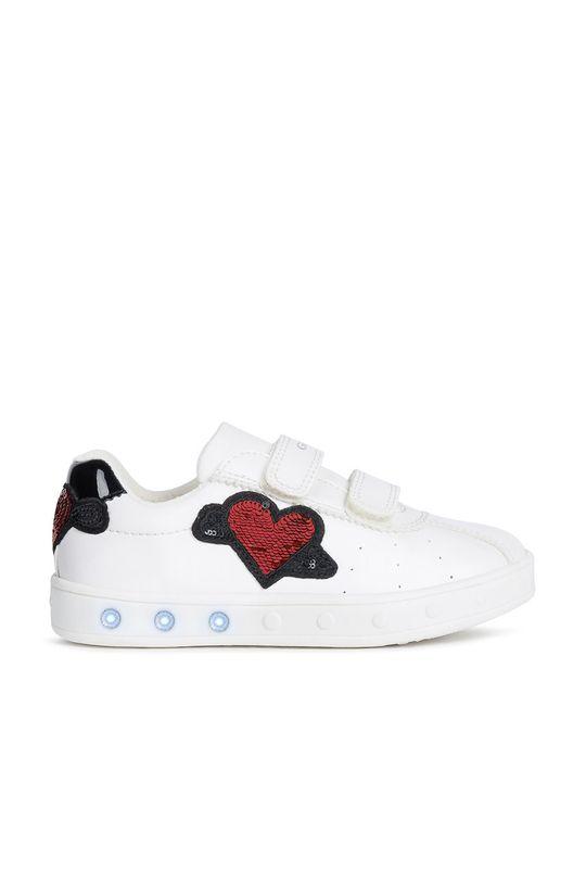 alb Geox - Pantofi copii . De fete