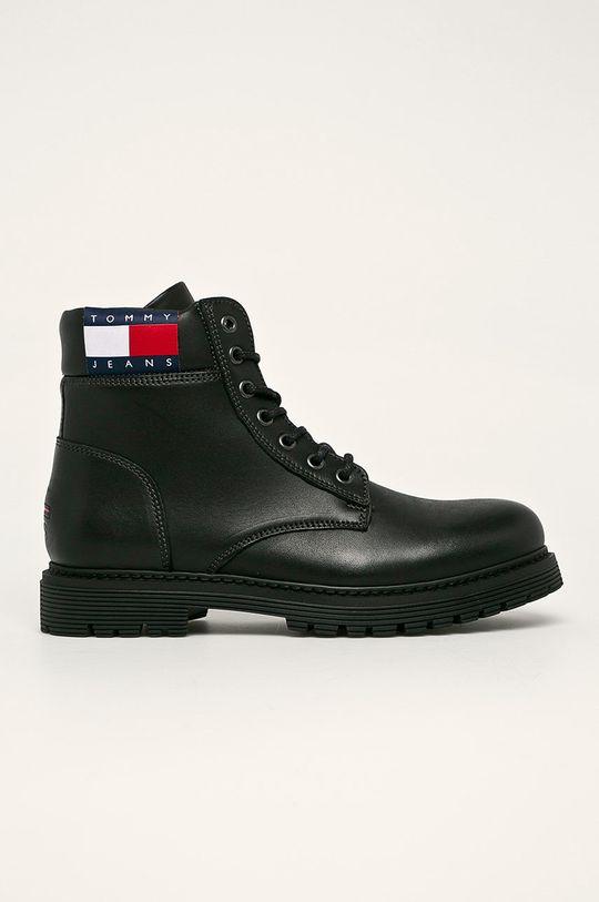 černá Tommy Jeans - Kožené boty Pánský