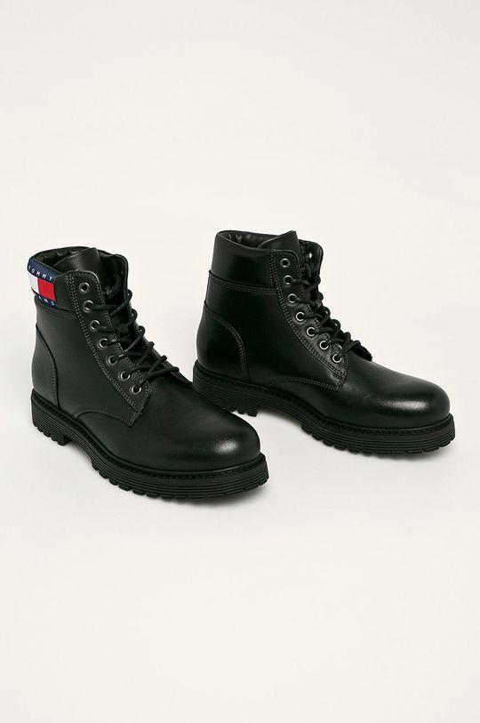 Tommy Jeans - Kožené boty černá