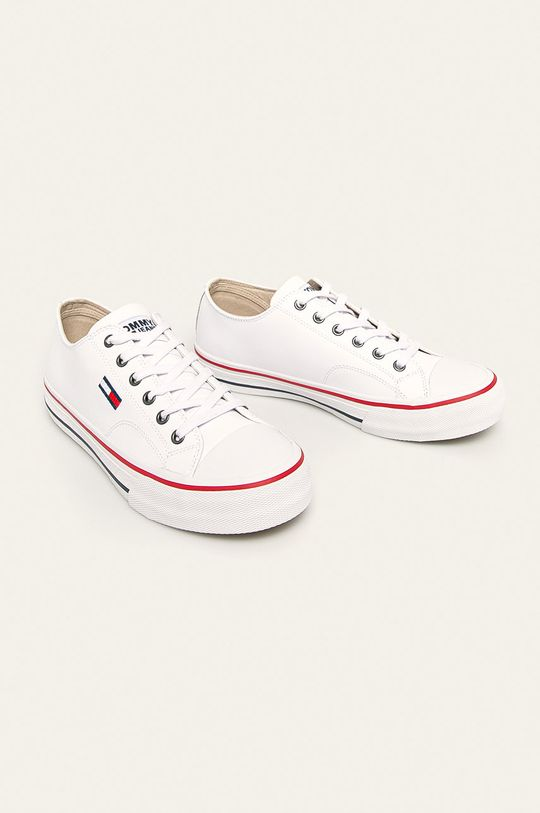Tommy Jeans - Tenisówki skórzane biały