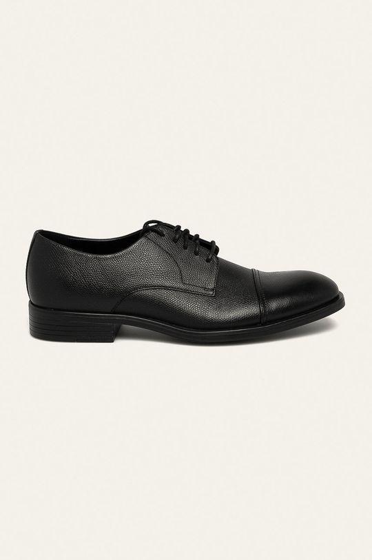 černá Calvin Klein - Kožené polobotky Pánský