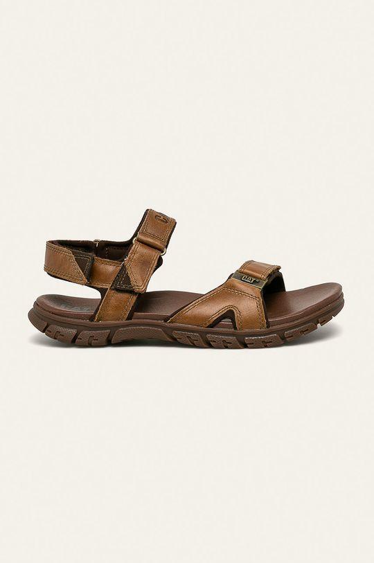 tmavě hnědá Caterpillar - Kožené sandály Brantley Pánský