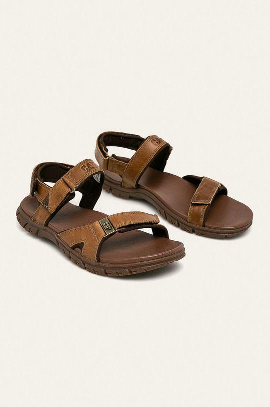 Caterpillar - Kožené sandály Brantley tmavě hnědá