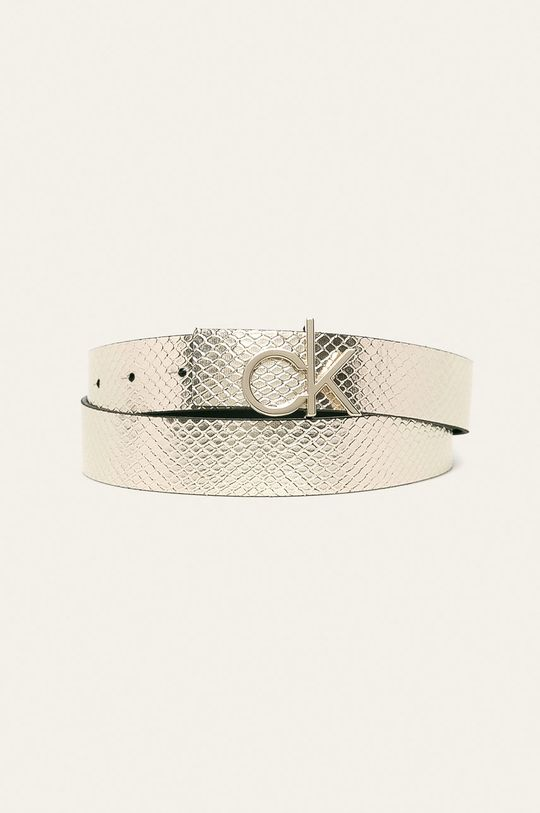 stříbrná Calvin Klein - Oboustranný kožený pásek Dámský