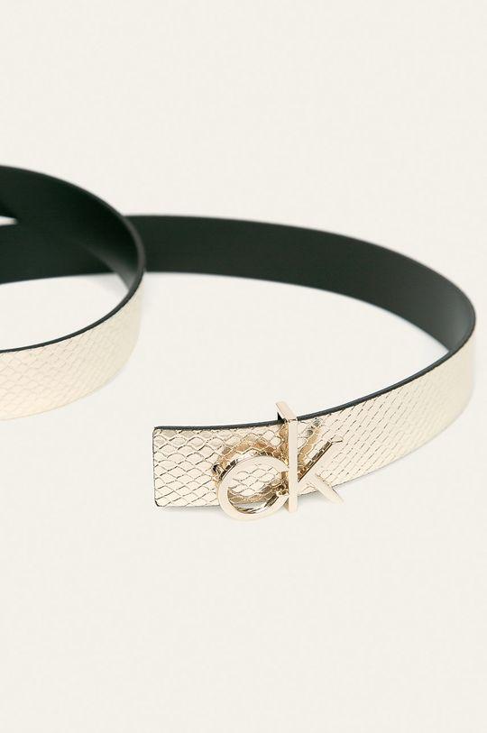 Calvin Klein - Oboustranný kožený pásek stříbrná