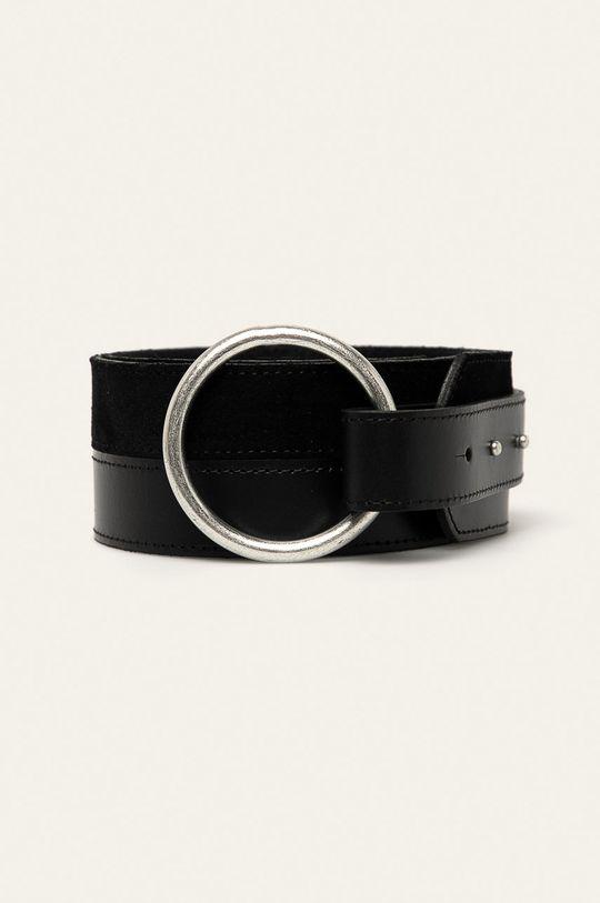 černá Pieces - Kožený pásek Dámský