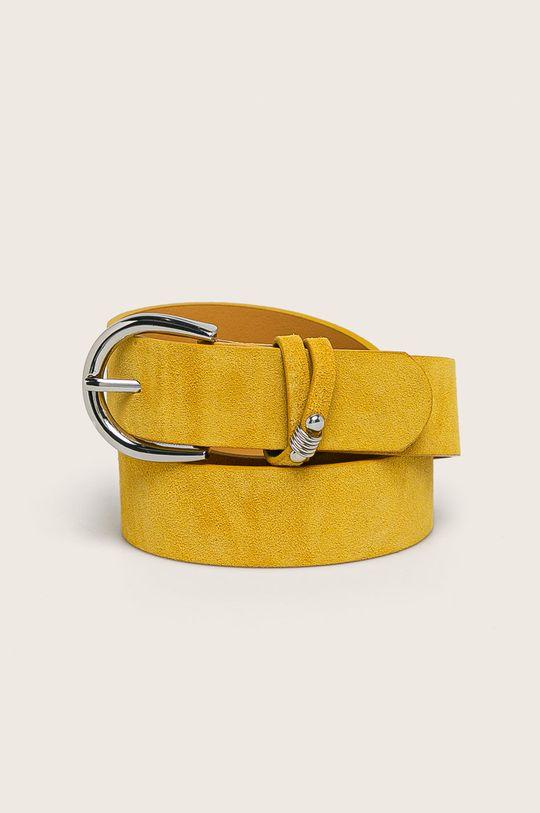 žlutá Pieces - Kožený pásek Dámský