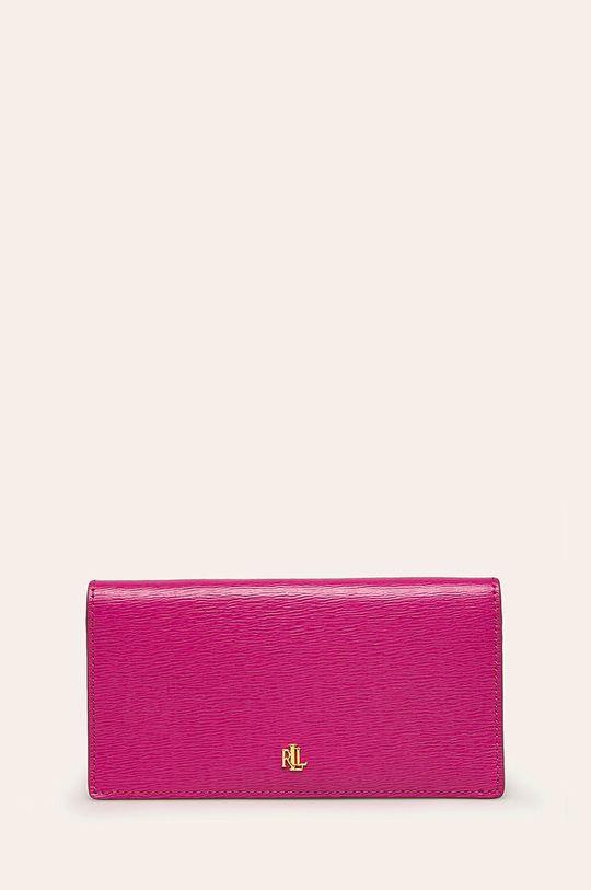 ružová Lauren Ralph Lauren - Kožená peňaženka Dámsky