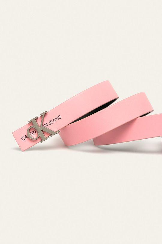 Calvin Klein Jeans - Oboustranný kožený pásek růžová