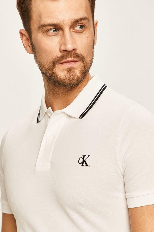 biela Calvin Klein Jeans - Pánske polo tričko Pánsky