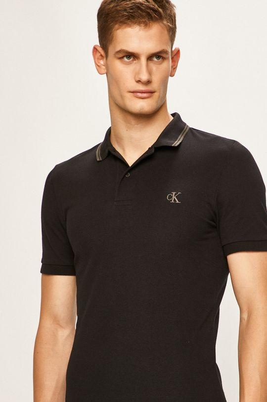 čierna Calvin Klein Jeans - Pánske polo tričko Pánsky