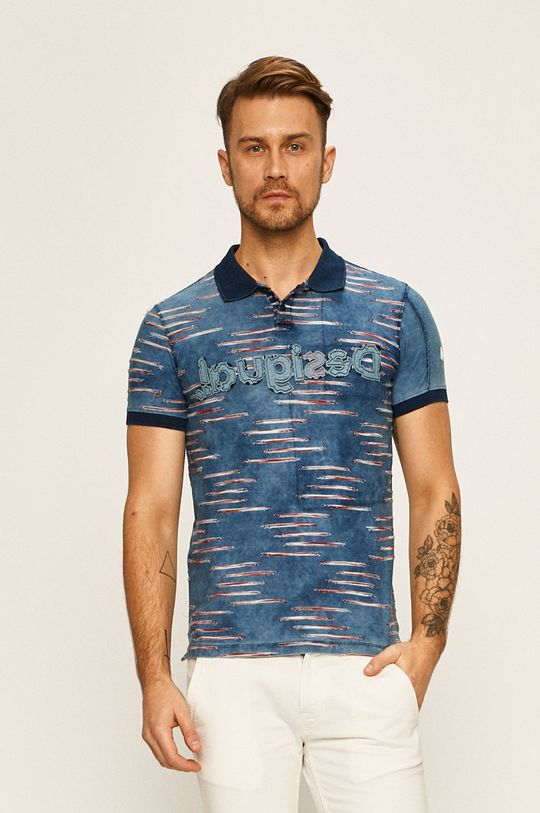 modrá Desigual - Pánske polo tričko Pánsky