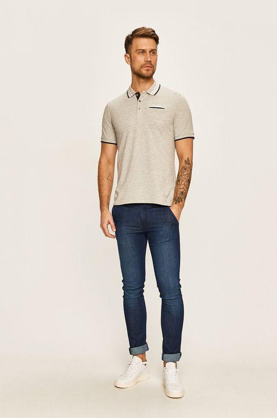 Guess Jeans - Pánske polo tričko sivá