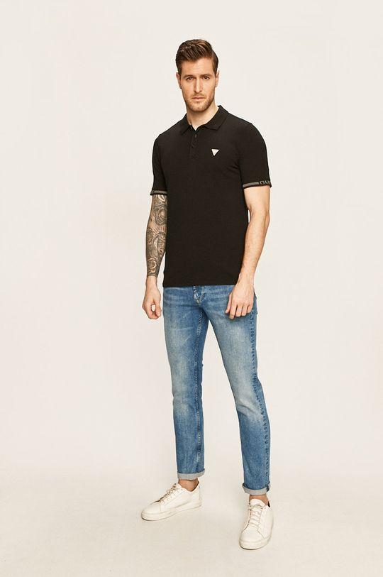 Guess Jeans - Tricou polo negru